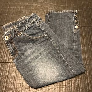 Dark wash denim, cropped/ankle length